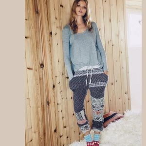 Free People Snuggle Up Fair Isle Sweater Jogger XS